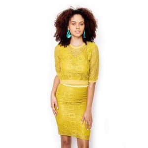 SotheaStudio Skirts - Yellow vintage lace blouse + lace pencil skirt
